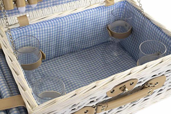 Bela korpa za piknik sa stolnjakom 40x28x19
