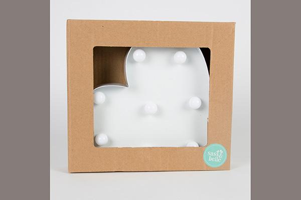 Belo srce led dekoracija za zid 30x13x6