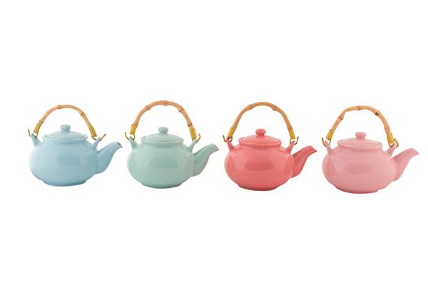 čajnik u boji sa bambus ručkom  18x14x11 550 ml 4 modela