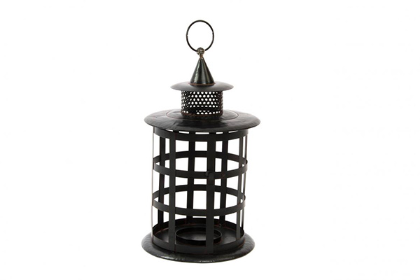 Crni svećnjak fenjer 24x41