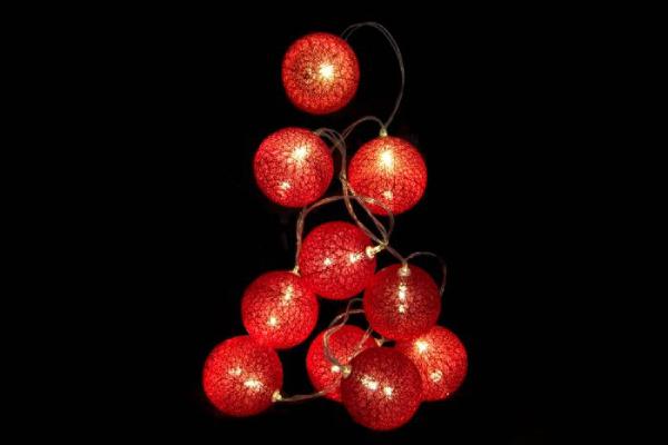 Crveni led lampioni set 10 6x150
