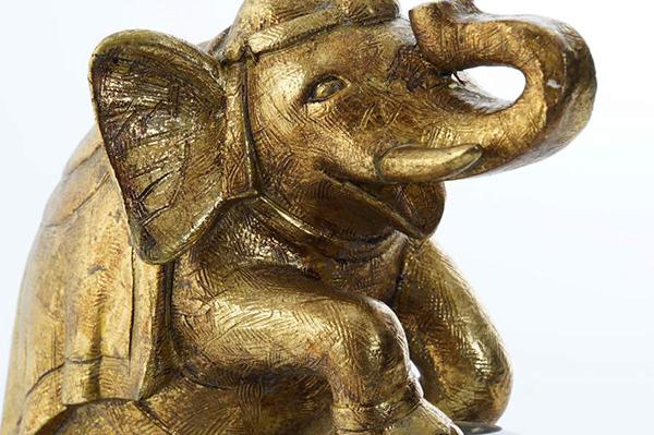 Figura elephant golden 19x11,5x23