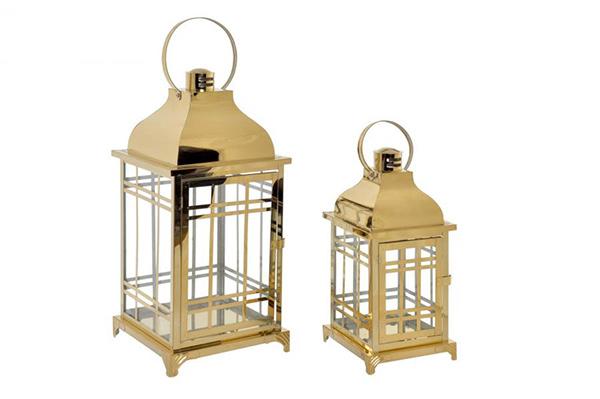 Golden svećnjaci set / 2 22x22x49