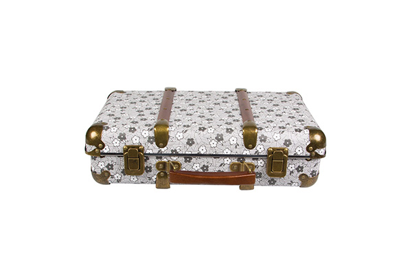 Kofer sivi cvetići 25x37x9