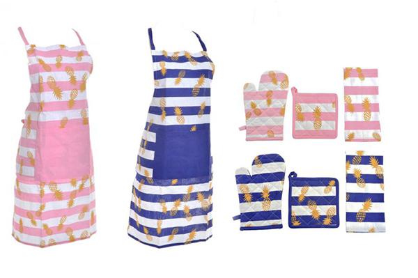 Kuhinjski tekstil set / 4 ananasi 60x80  2 modela