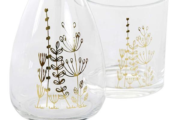 KupatiKupatilski set golden flowers / staklo set / staklo