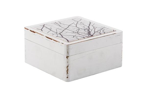 Kutija sa nordijskim motivom 12.8x12.8x6.5 drvo/keramika