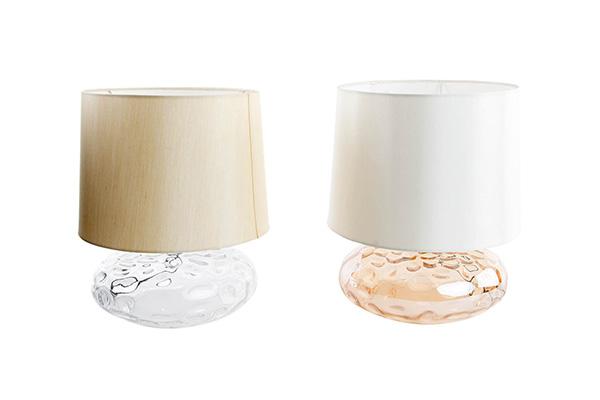 Lampa stona bež i beli abažur staklo metal 28 x 37