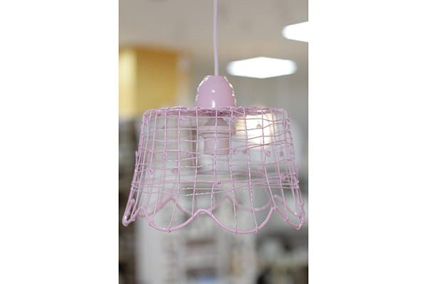 Luster od pletene žice 27.5x20.5x22cm pink