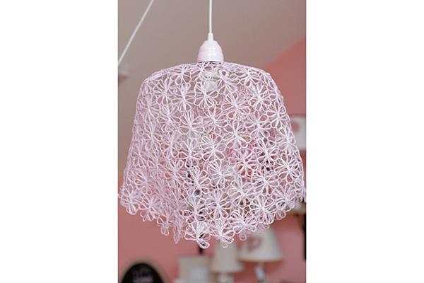 Luster od pletene žice 41x41cm roze