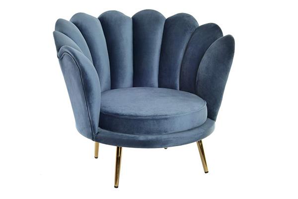 Plava fotelja shell  85x78x73