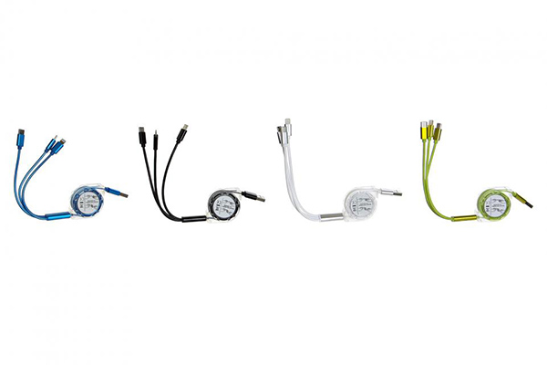 Eksterni kabal za punjače mobilnih telefona sa tri različita džeka 14x5x2 / pvc 4 boje