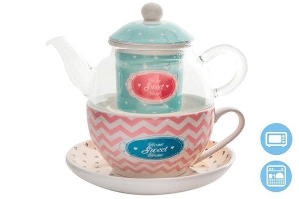 Set čajnik / šolja home 250 ml 3 boje