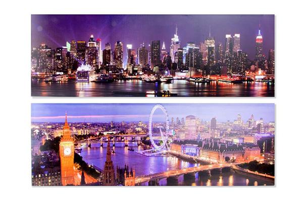 Slika grad noću 120x40x3 2 modela