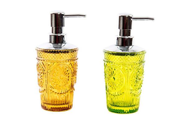 Stakleni dozer za tečni sapun žuti