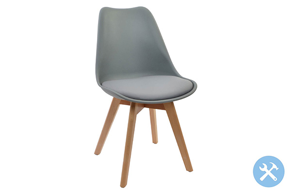 Stolica siva / pp 55x47,5x81