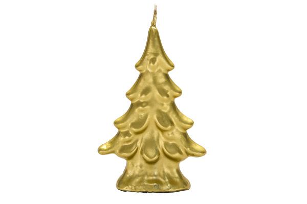 Sveca jelka velika zlatna 9,5 cm