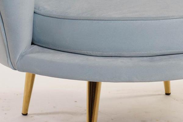 Svetlo plava fotelja shell  85x78x75