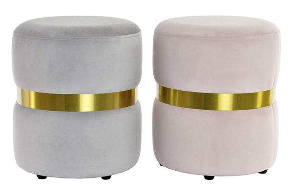 Tabure velvet golden 37x39 2 boje