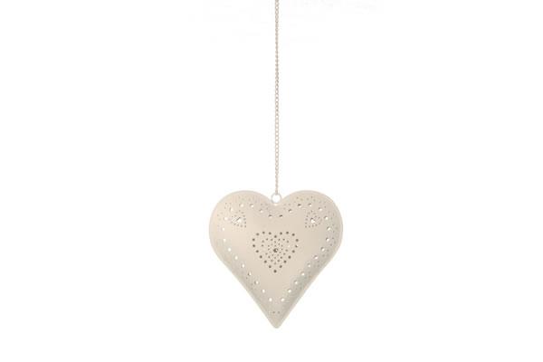 Viseća dekoracija metalno srce sa svećnjakom