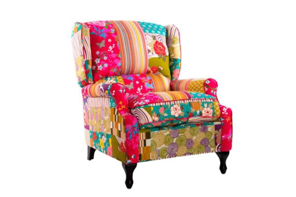 šarena fotelja sa naslonom za ruke