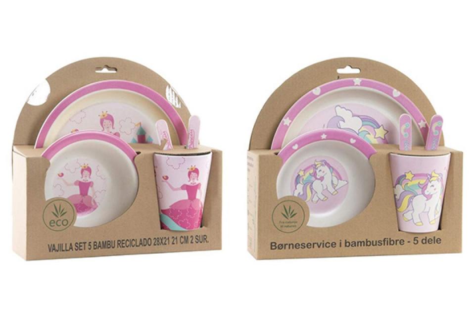 Bambus dečiji set pink / 5  25x9,5x24