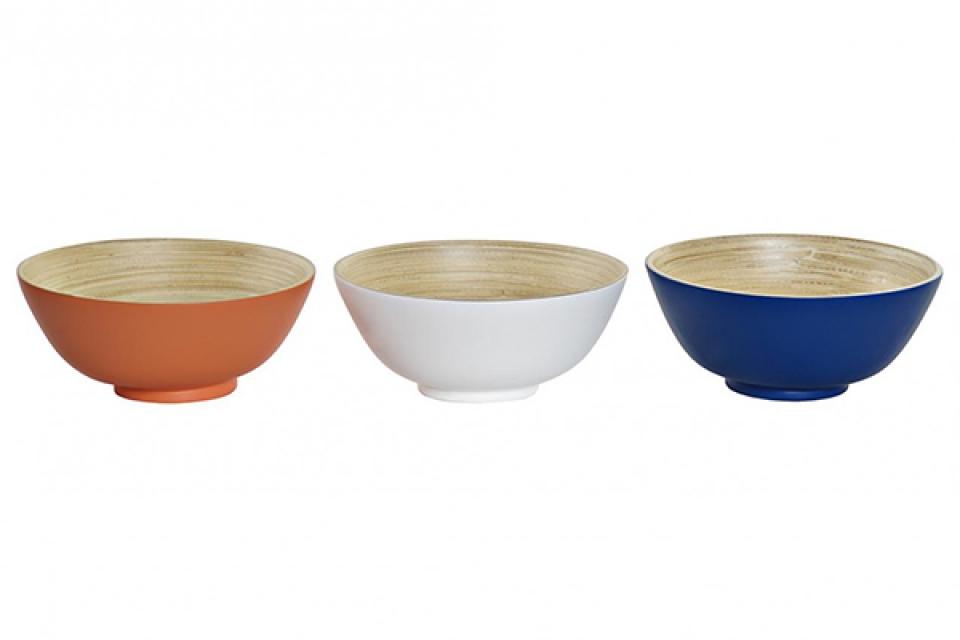 Bambus činija u boji 18x18x8 3 modela