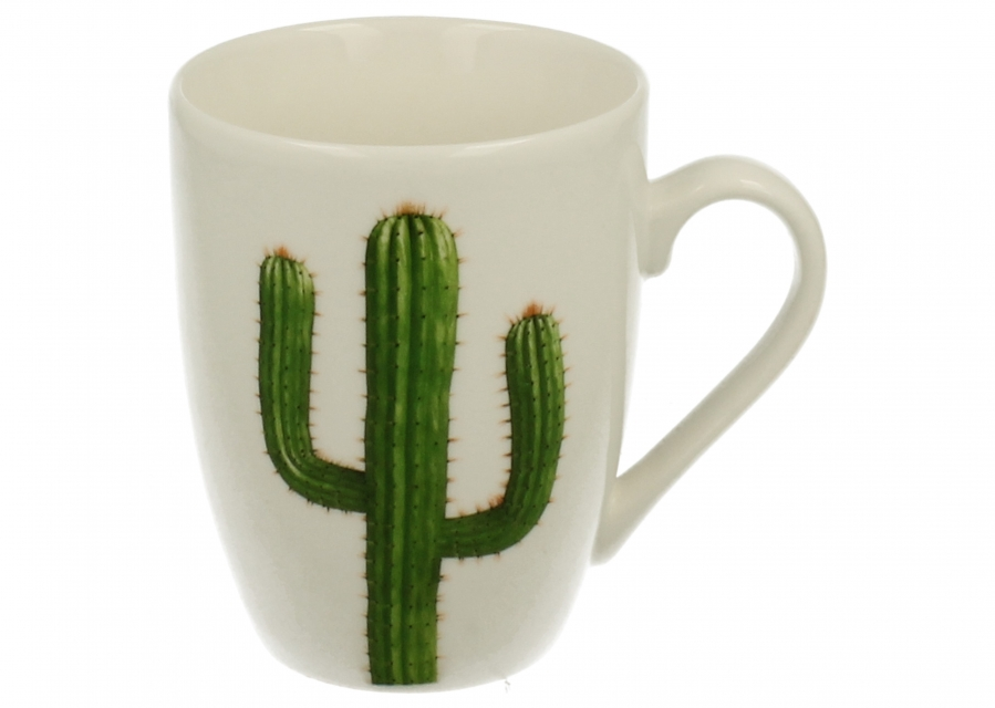 Bela šolja sa kaktusom 330 ml