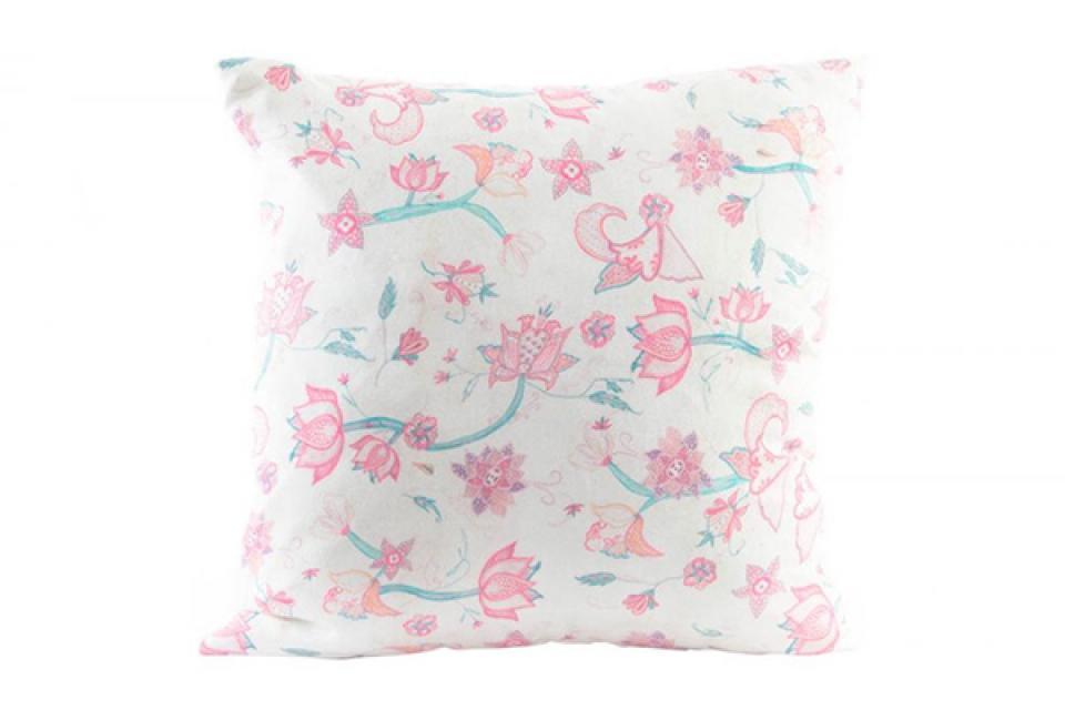 Beli jastuk sa roze cvetovima 45x45 350gr