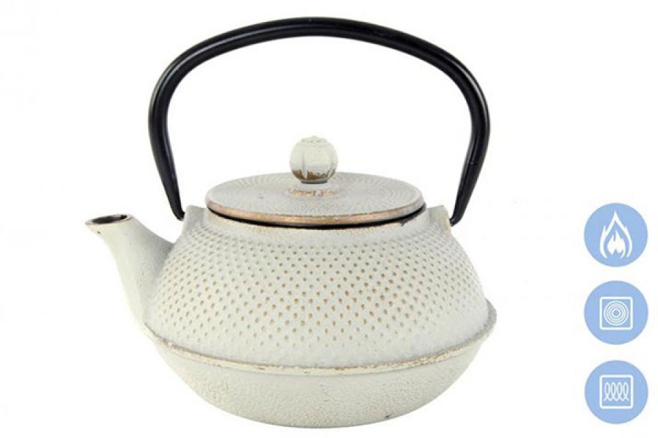 Beli metalni čajnik sa infuzerom 18x15x12  800 ml