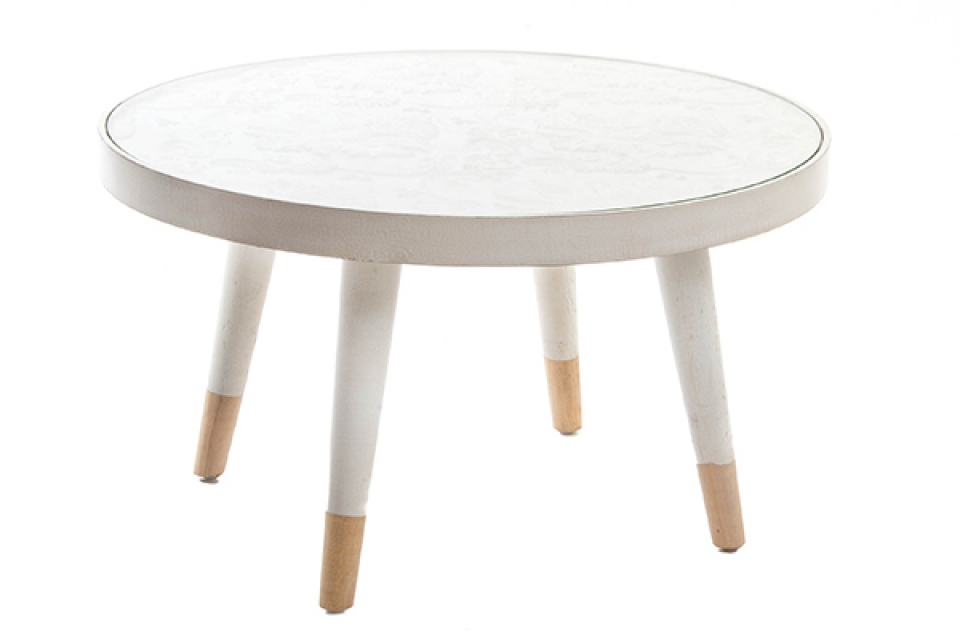 Beli okrugli stočić  61x61x34