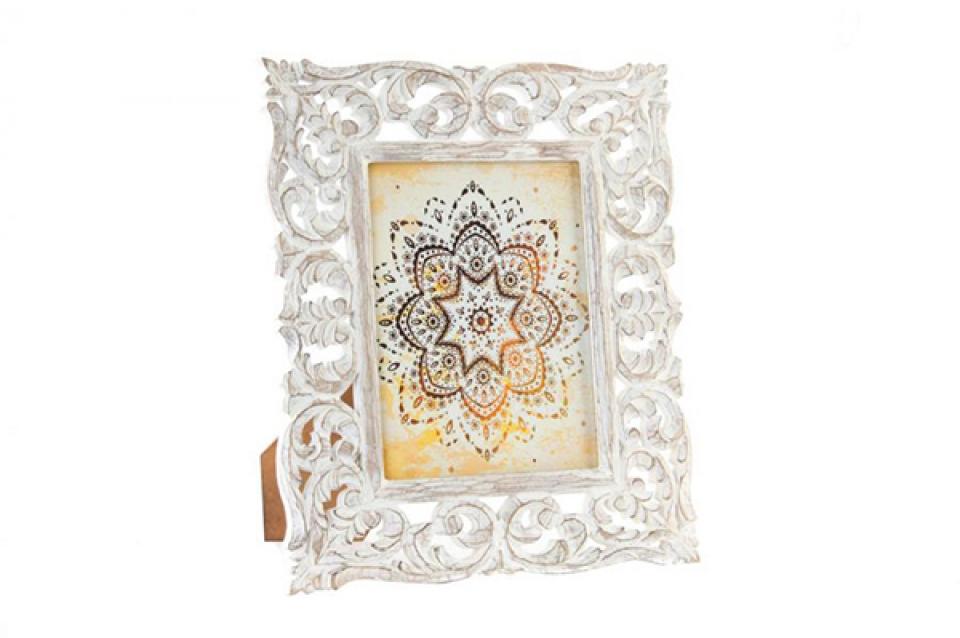 Beli ram ornamenti 15x20 drvo