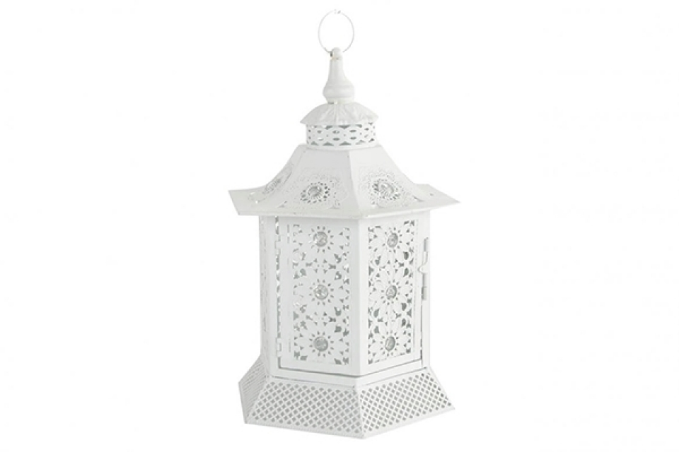 Beli svećnjak fenjer  24x21x36