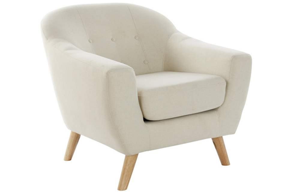Bež fotelja sa drvenim nogicama 81x80x80