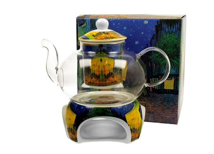 čajnik sa posudom za zagrevanje vincent van gogh terrace at night 1000 ml