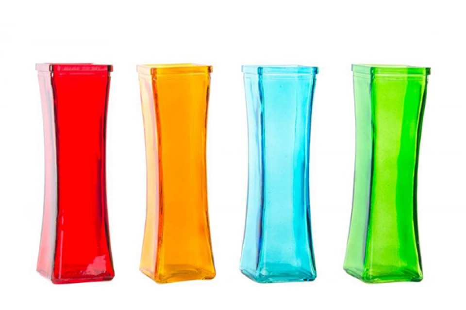 četvrtasta vaza 6x6x19 4 boje