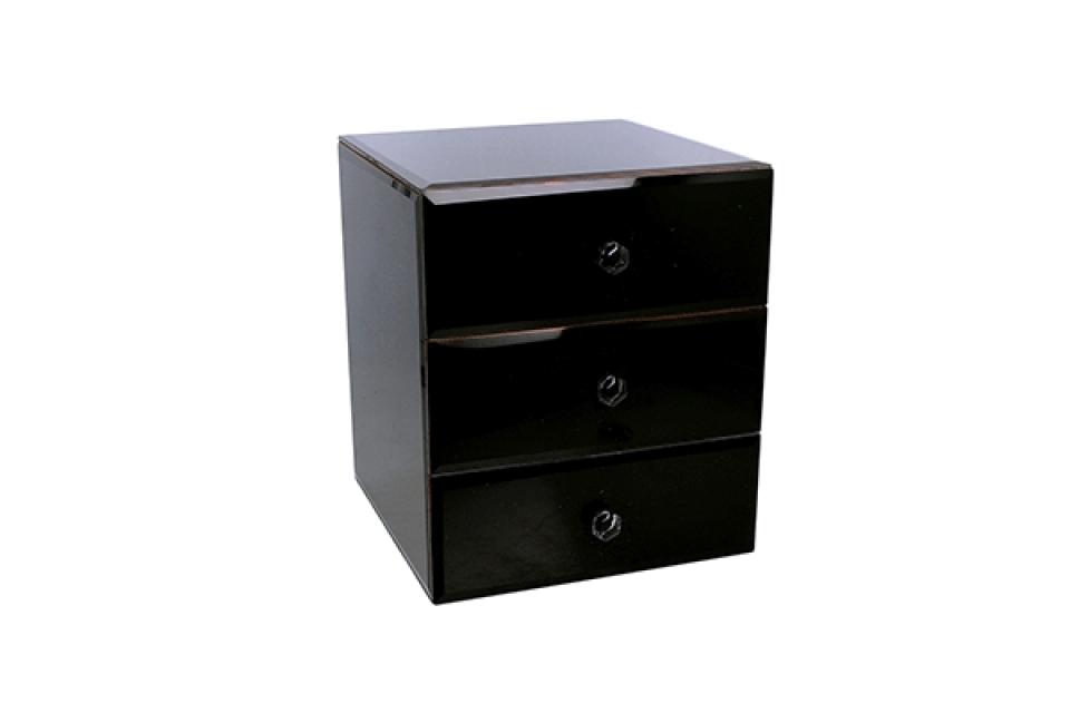 Crna kutija za nakit sa fiokama 20 x 17 x 17 cm