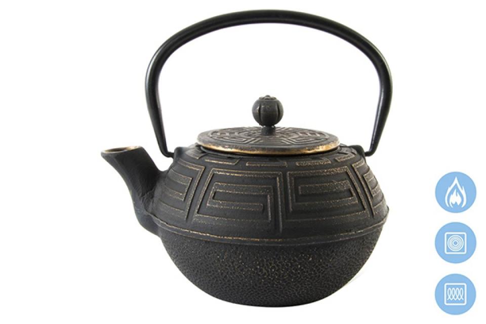 Crni metalni čajnik sa infuzerom 18x16x13 1,2 l