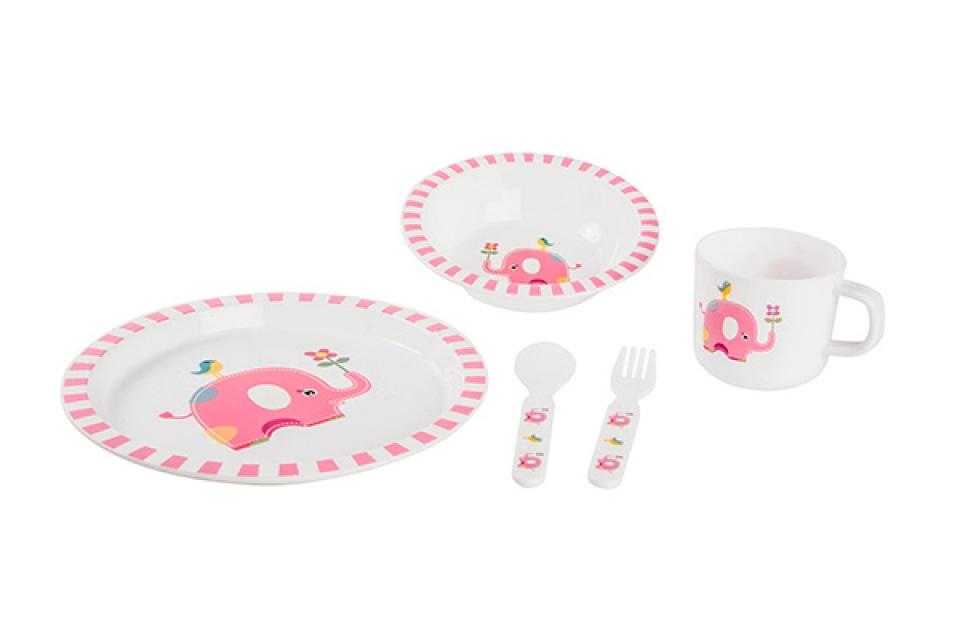 Dečiji pribor za ručavanje roze slon