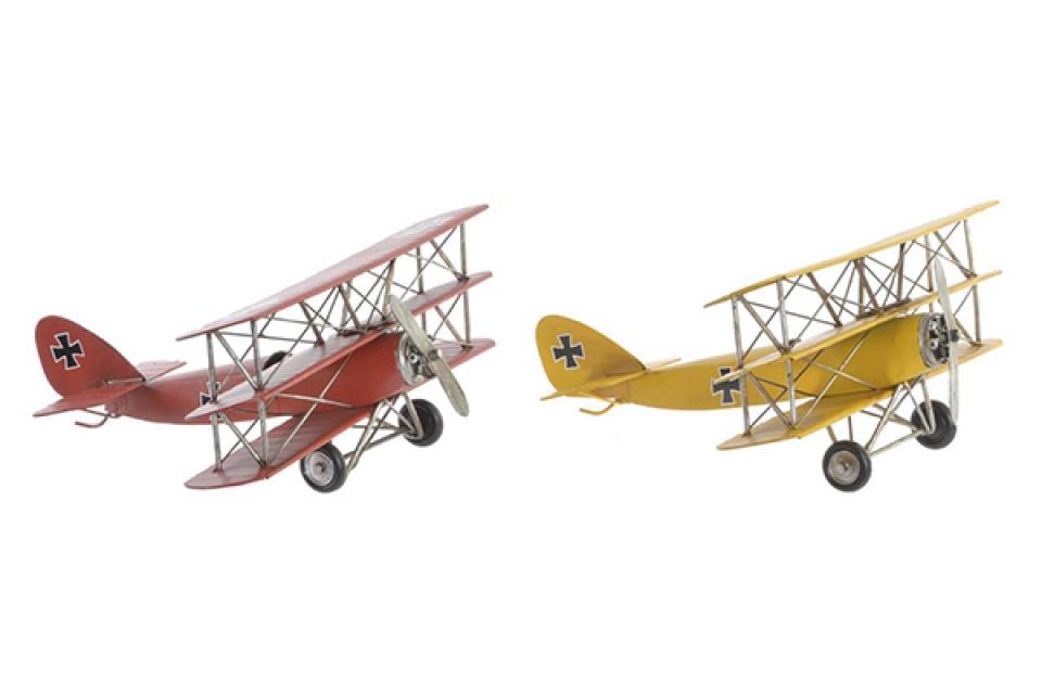 Dekoracija avion i / metal 32,5x32x15,5 2 modela