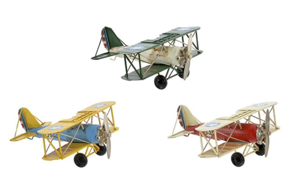 Dekoracija avion metal 16x15,5x7 3 modela