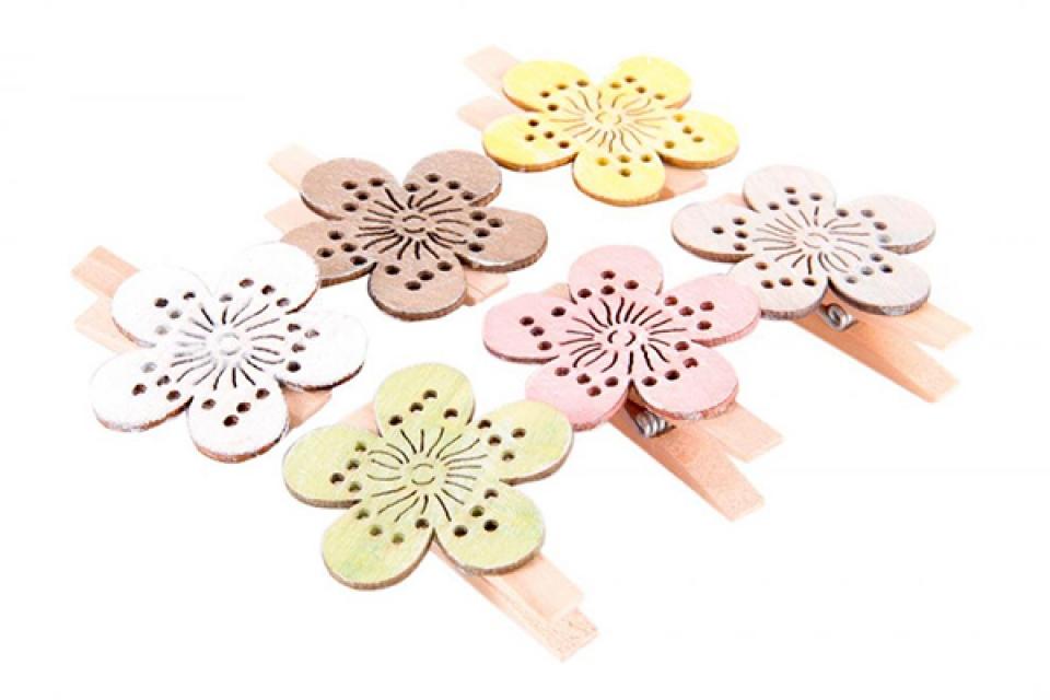Dekorativne štipaljke flower 4x5x1,5 6 modela