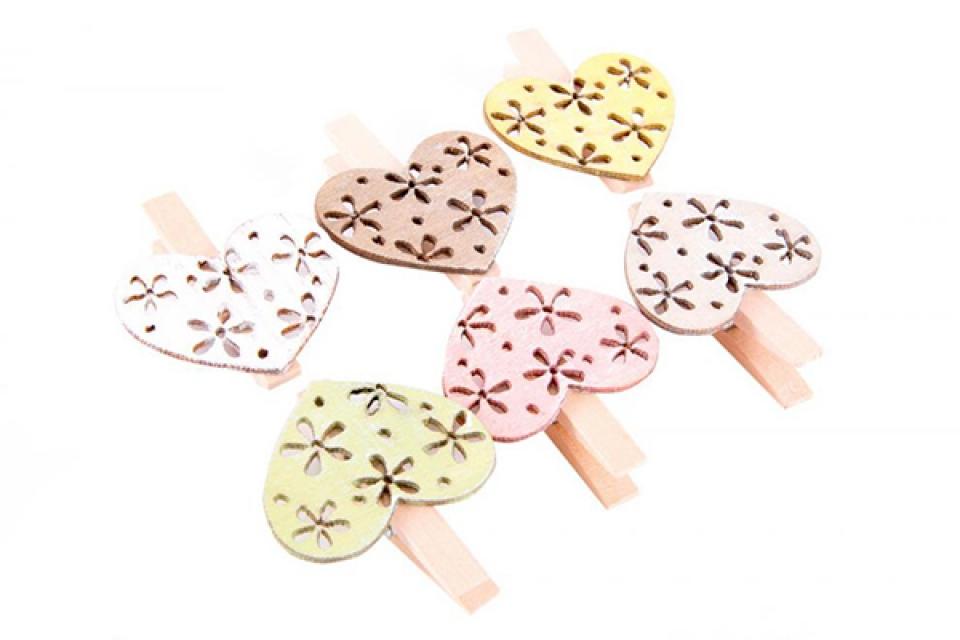 Dekorativne štipaljke heart 4x5x1,5 6 modela