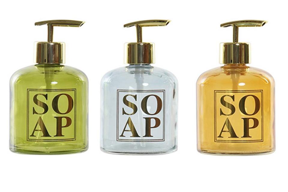 Dispenzer za sapun u boji 8x8x14 350 ml 3 modela