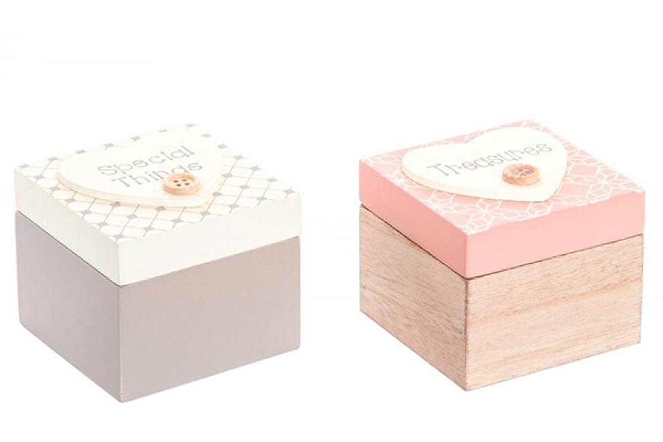 Drvena kutijica dugme 7x7x7 2 boje
