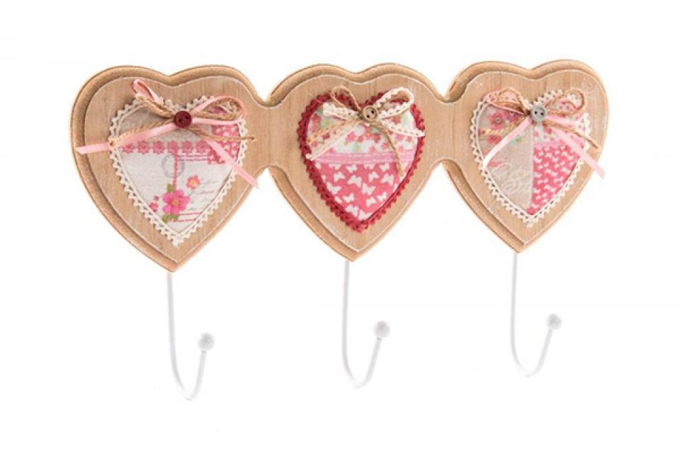 Drveni čiviluk sa tri zakačke srca sa mašnicama