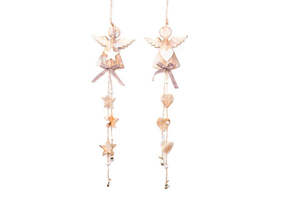 Drveni viseći ukras anđeo