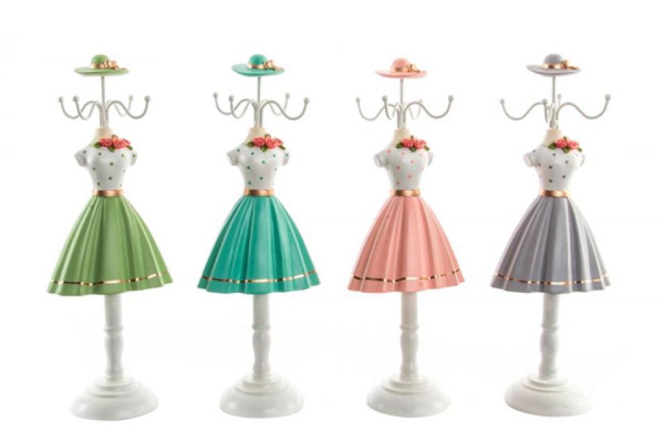Držač nakita haljina na tufne 12x8,5x32 4 boje