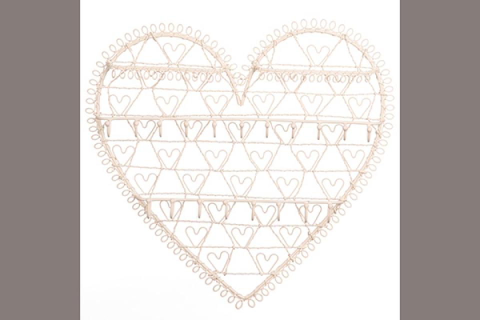 Držač nakita metalno srce 30x25