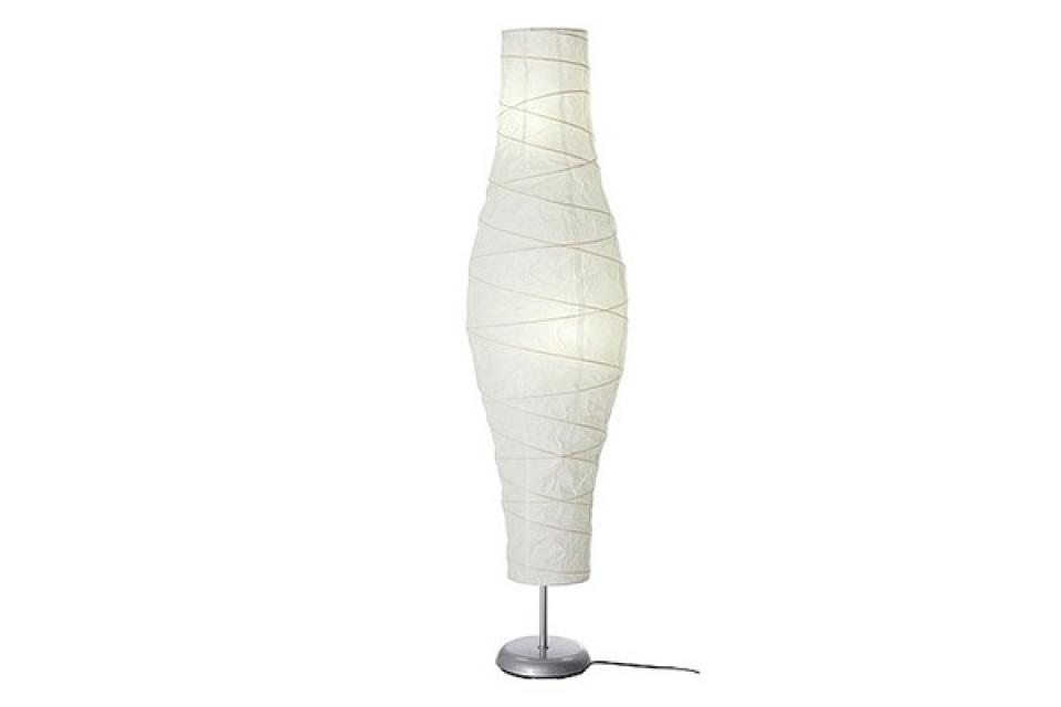 Lampa stona sa uvijenim belim postoljem i bež abažurom ...